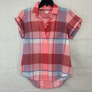 J.Crew Factory Gingham Short Sleeve Popover Shirt